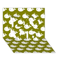 Cute Whale Illustration Pattern Love 3d Greeting Card (7x5)