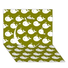 Cute Whale Illustration Pattern Circle 3d Greeting Card (7x5)