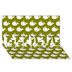Cute Whale Illustration Pattern Believe 3d Greeting Card (8x4)