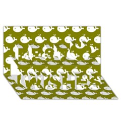 Cute Whale Illustration Pattern Best Wish 3D Greeting Card (8x4)