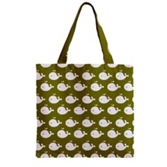 Cute Whale Illustration Pattern Zipper Grocery Tote Bags