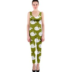 Cute Whale Illustration Pattern OnePiece Catsuits
