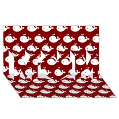 Cute Whale Illustration Pattern MOM 3D Greeting Card (8x4)