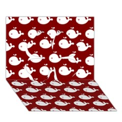 Cute Whale Illustration Pattern Clover 3d Greeting Card (7x5)
