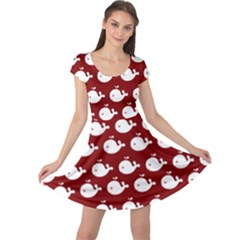 Cute Whale Illustration Pattern Cap Sleeve Dresses