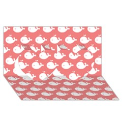Cute Whale Illustration Pattern Twin Hearts 3D Greeting Card (8x4)