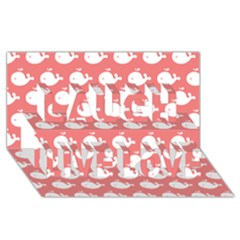 Cute Whale Illustration Pattern Laugh Live Love 3d Greeting Card (8x4)