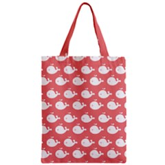 Cute Whale Illustration Pattern Zipper Classic Tote Bags