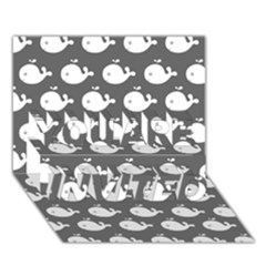 Cute Whale Illustration Pattern You Are Invited 3d Greeting Card (7x5)