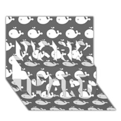 Cute Whale Illustration Pattern Work Hard 3d Greeting Card (7x5)