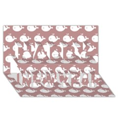 Cute Whale Illustration Pattern Happy New Year 3D Greeting Card (8x4)