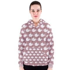 Cute Whale Illustration Pattern Women s Zipper Hoodies