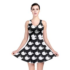 Cute Whale Illustration Pattern Reversible Skater Dresses