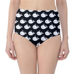 Cute Whale Illustration Pattern High-Waist Bikini Bottoms