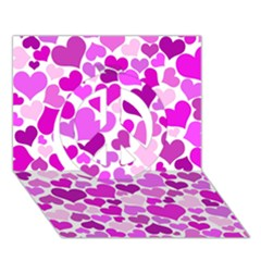 Heart 2014 0930 Peace Sign 3d Greeting Card (7x5)