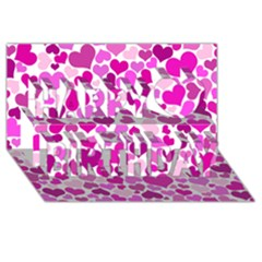 Heart 2014 0931 Happy Birthday 3D Greeting Card (8x4)