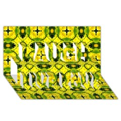 Cute Pattern Gifts Laugh Live Love 3D Greeting Card (8x4)