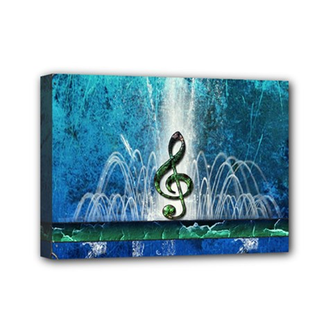 Clef With Water Splash And Floral Elements Mini Canvas 7  X 5