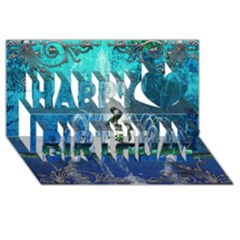 Clef With Water Splash And Floral Elements Happy Birthday 3D Greeting Card (8x4)