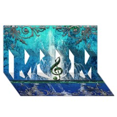 Clef With Water Splash And Floral Elements Mom 3d Greeting Card (8x4)