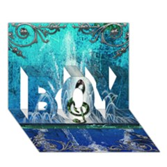 Clef With Water Splash And Floral Elements BOY 3D Greeting Card (7x5)