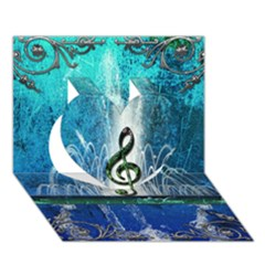 Clef With Water Splash And Floral Elements Heart 3D Greeting Card (7x5)