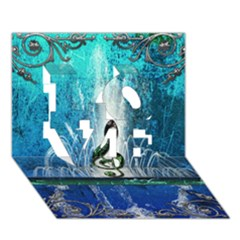 Clef With Water Splash And Floral Elements Love 3d Greeting Card (7x5)
