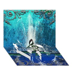 Clef With Water Splash And Floral Elements LOVE Bottom 3D Greeting Card (7x5)