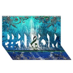 Clef With Water Splash And Floral Elements #1 MOM 3D Greeting Cards (8x4)