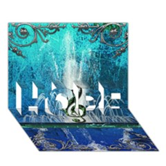 Clef With Water Splash And Floral Elements Hope 3d Greeting Card (7x5)