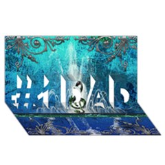 Clef With Water Splash And Floral Elements #1 DAD 3D Greeting Card (8x4)