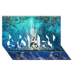 Clef With Water Splash And Floral Elements Sorry 3d Greeting Card (8x4)