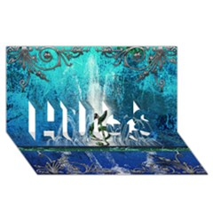 Clef With Water Splash And Floral Elements Hugs 3d Greeting Card (8x4)