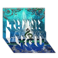 Clef With Water Splash And Floral Elements THANK YOU 3D Greeting Card (7x5)