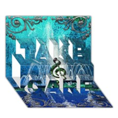 Clef With Water Splash And Floral Elements Take Care 3d Greeting Card (7x5)