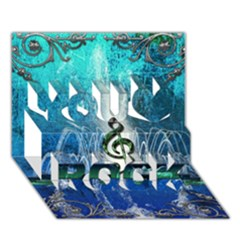 Clef With Water Splash And Floral Elements You Rock 3D Greeting Card (7x5)