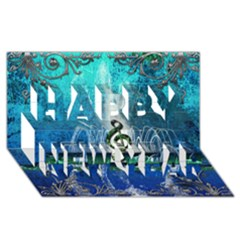 Clef With Water Splash And Floral Elements Happy New Year 3d Greeting Card (8x4)