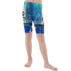 Clef With Water Splash And Floral Elements Kid s Swimwear
