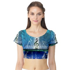 Clef With Water Splash And Floral Elements Short Sleeve Crop Top