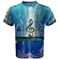 Clef With Water Splash And Floral Elements Men s Cotton Tees