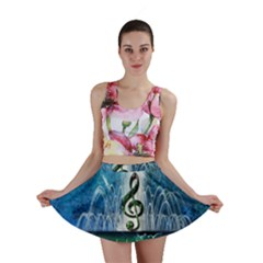 Clef With Water Splash And Floral Elements Mini Skirts