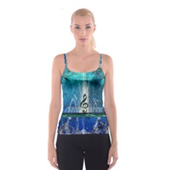 Clef With Water Splash And Floral Elements Spaghetti Strap Tops