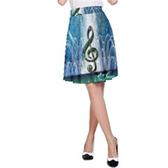 Clef With Water Splash And Floral Elements A-Line Skirts