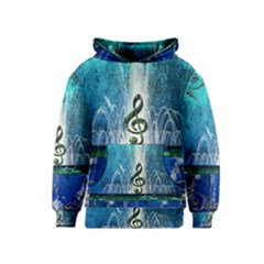Clef With Water Splash And Floral Elements Kid s Pullover Hoodies