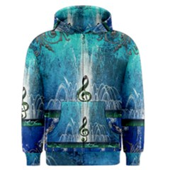 Clef With Water Splash And Floral Elements Men s Zipper Hoodies
