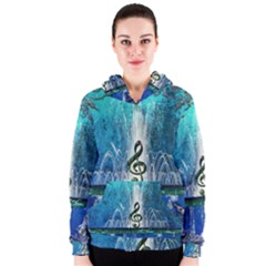 Clef With Water Splash And Floral Elements Women s Zipper Hoodies