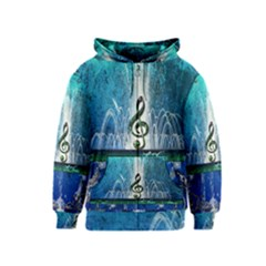Clef With Water Splash And Floral Elements Kids Zipper Hoodies