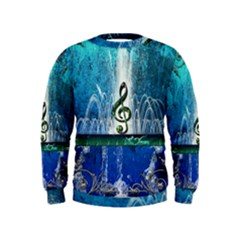 Clef With Water Splash And Floral Elements Boys  Sweatshirts