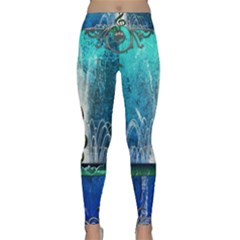 Clef With Water Splash And Floral Elements Yoga Leggings