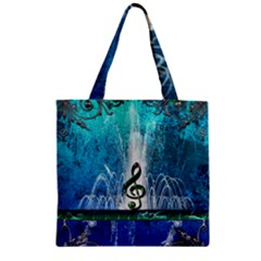 Clef With Water Splash And Floral Elements Zipper Grocery Tote Bags